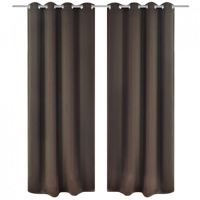 Brązowe zasłony zaciemniające z metalowymi otworami x2 135 x 245 cm