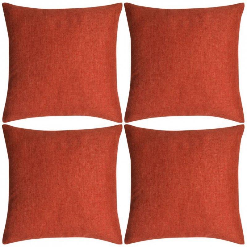 Poszewki na poduszki 4 szt. lniane, terakota 80x80 cm