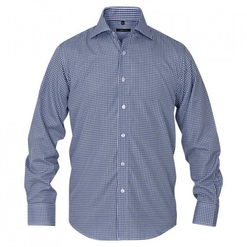 Męska koszula biznesowa w biało-granatową kratę rozmiar S