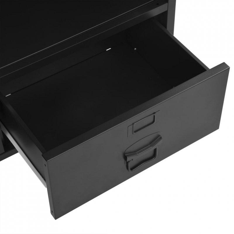 Regał w stylu industrialnym, czarny, 90 x 40 x 180 cm, stalowy