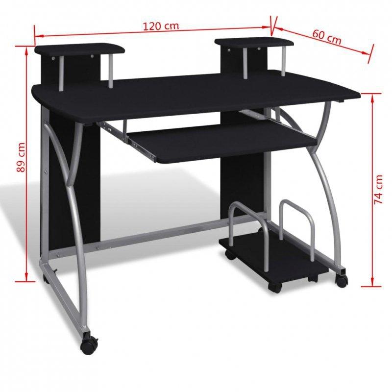 Biurko komputerowe z ruchomą podstawką na klawiaturę, czarne