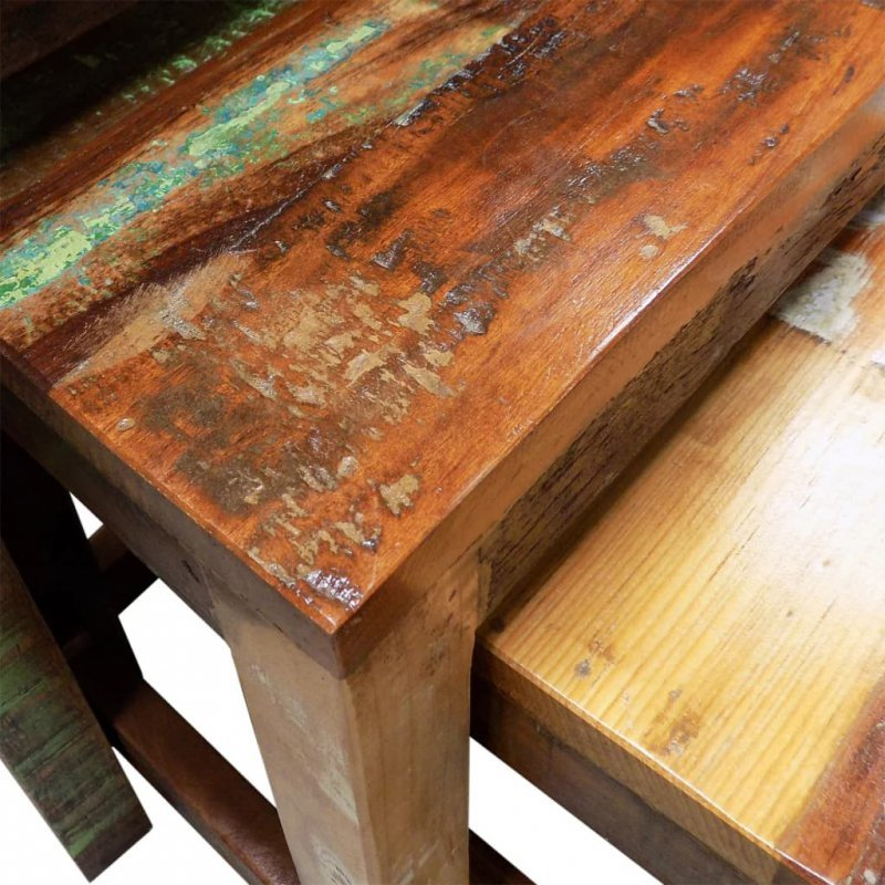 Zestaw 3 stolików wsuwanych pod siebie, lite drewno z odzysku