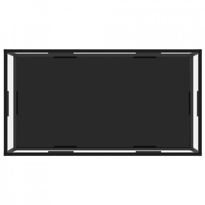Stolik, przezroczysto-czarny, 120x60x35 cm, szkło hartowane