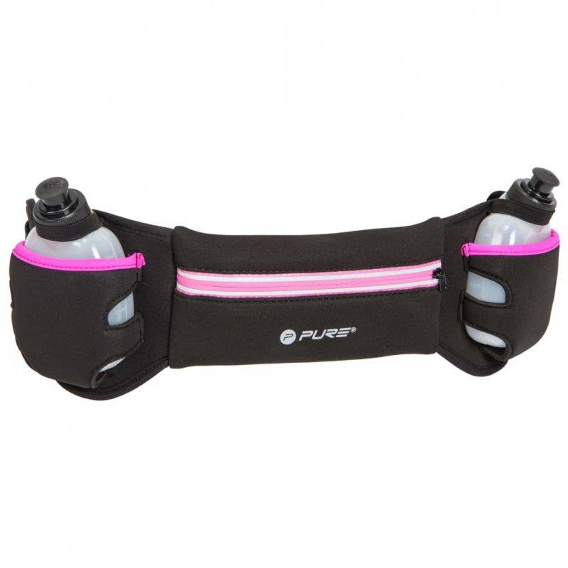 Pure2Improve Pas do biegania z 2 bidonami, czarno-różowy