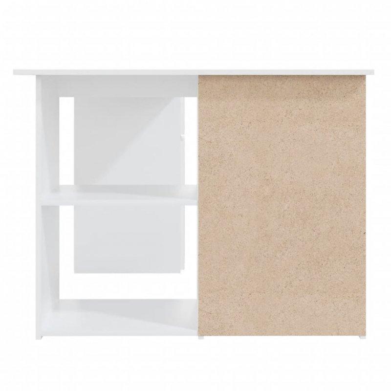Biurko narożne, białe, 145x100x76 cm, płyta wiórowa