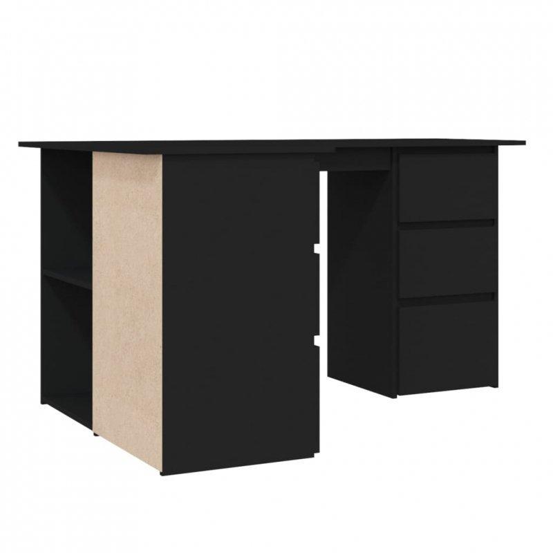 Biurko narożne, czarne, 145x100x76 cm, płyta wiórowa