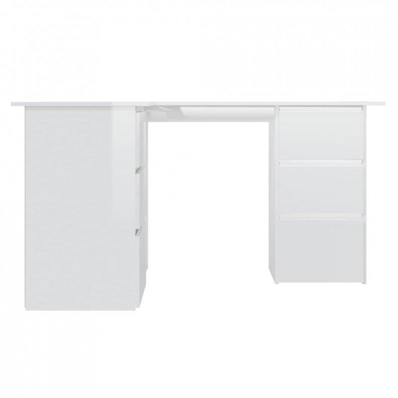 Biurko narożne, wysoki połysk, białe, 145x100x76 cm