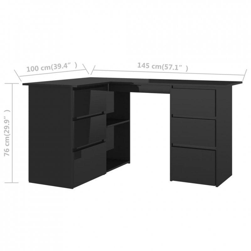 Biurko narożne, wysoki połysk, czarne, 145x100x76 cm