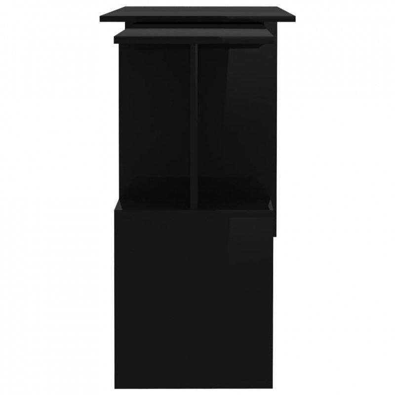 Biurko narożne, wysoki połysk, czarne, 200x50x76 cm