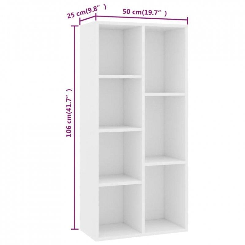 Regał na książki, biały, 50x25x106 cm, płyta wiórowa