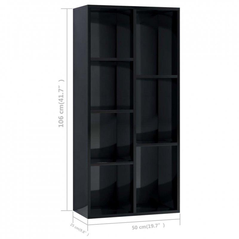 Regał na książki, wysoki połysk, czarny, 50x25x106 cm