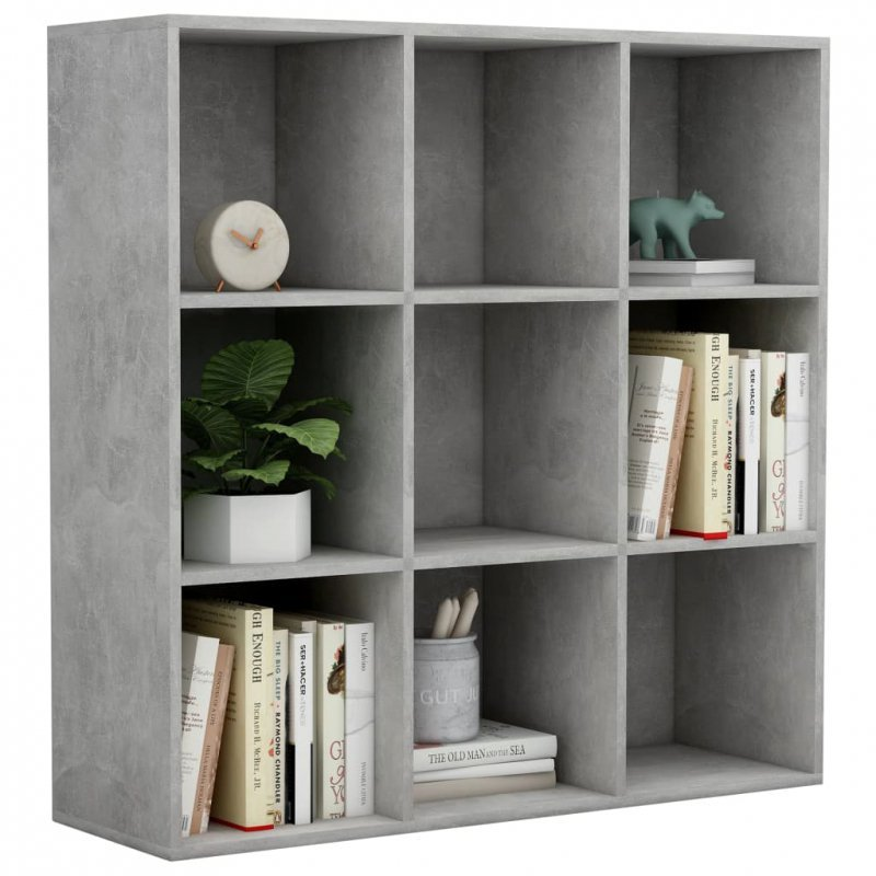 Regał na książki, szarość betonu, 98x30x98 cm, płyta wiórowa