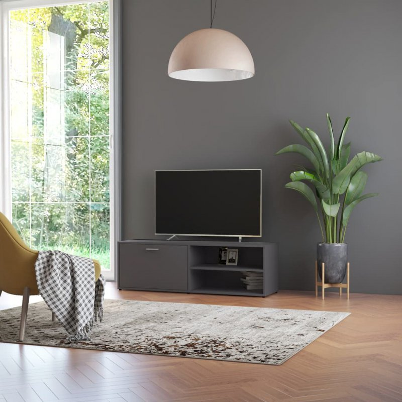 Szafka pod TV, szara, 120x34x37 cm, płyta wiórowa