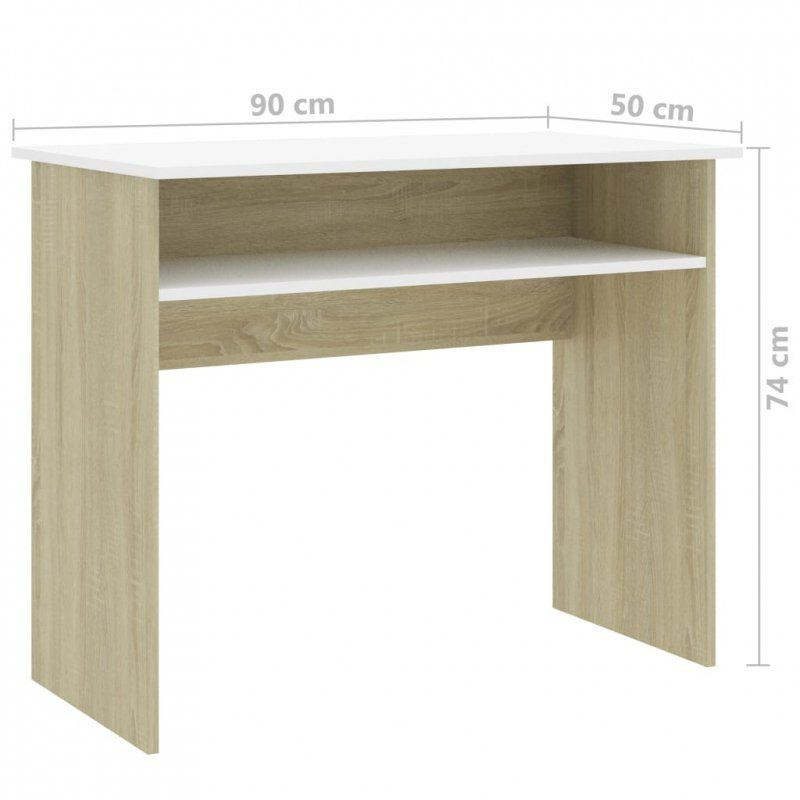 Biurko, biel i dąb sonoma, 90x50x74 cm, płyta wiórowa