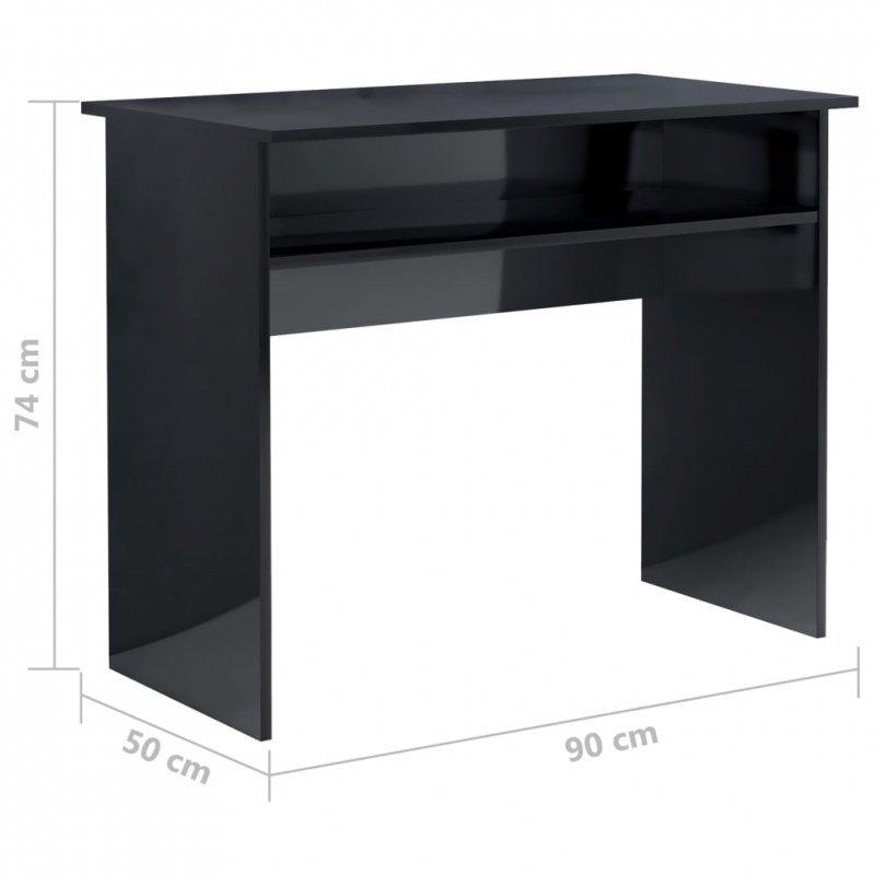 Biurko, wysoki połysk, czarne, 90x50x74 cm, płyta wiórowa
