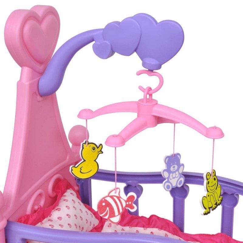 Łóżeczko dla lalek, różowo-fioletowe