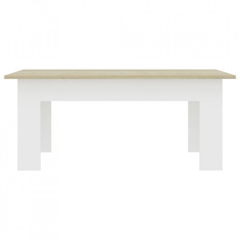 Stolik kawowy, biel i dąb sonoma, 100x60x42 cm, płyta wiórowa