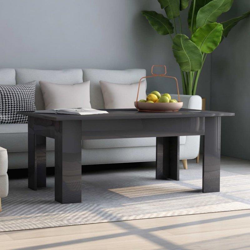 Stolik kawowy, wysoki połysk, szary, 100x60x42cm, płyta wiórowa
