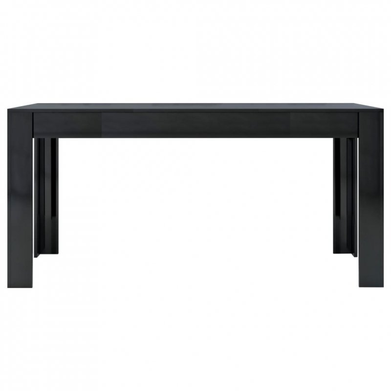 Stół jadalniany, wysoki połysk, czarny, 160 x 80 x 76 cm