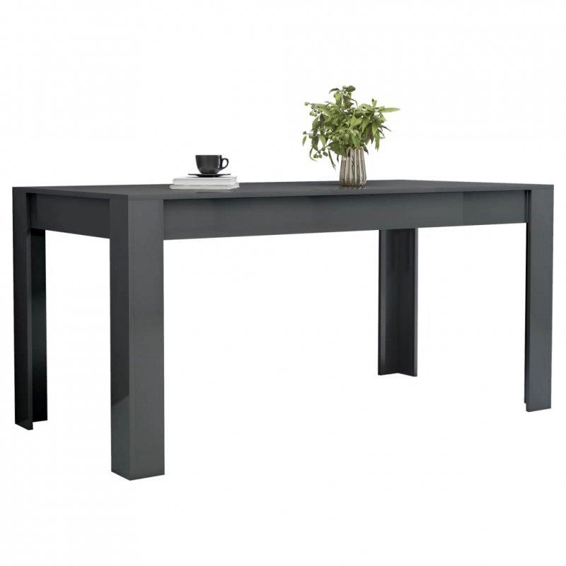 Stół jadalniany, wysoki połysk, szary, 160 x 80 x 76 cm