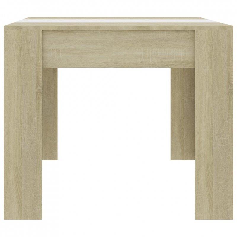 Stół jadalniany, biel i dąb sonoma, 180x90x76 cm, płyta wiórowa