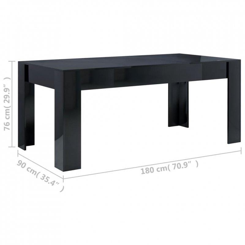 Stół na wysoki połysk, szary, 180x90x76 cm, płyta wiórowa