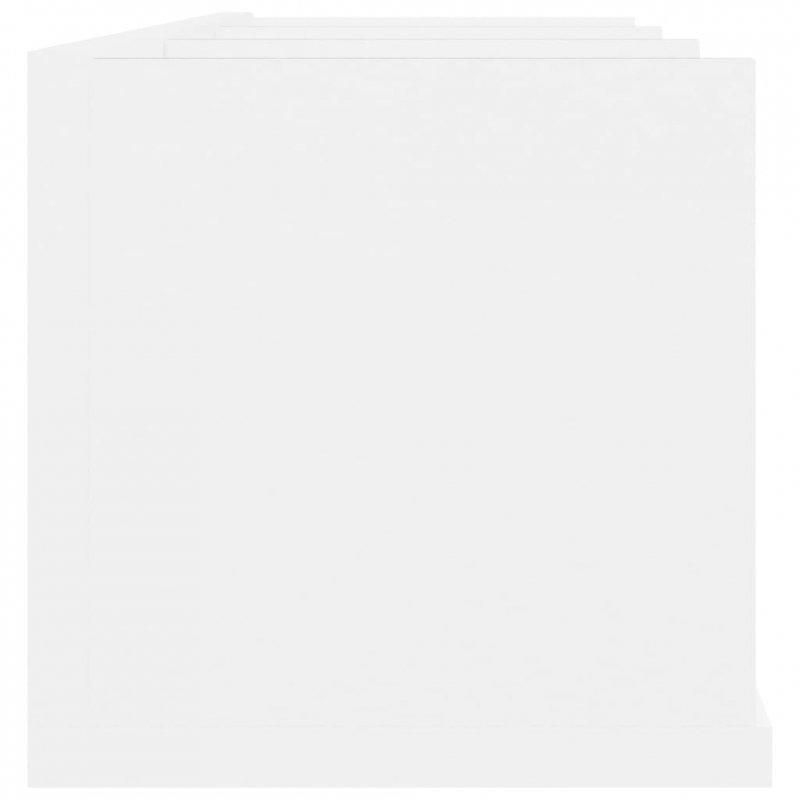 Półka ścienna na płyty CD, biała, 75x18x18 cm, płyta wiórowa