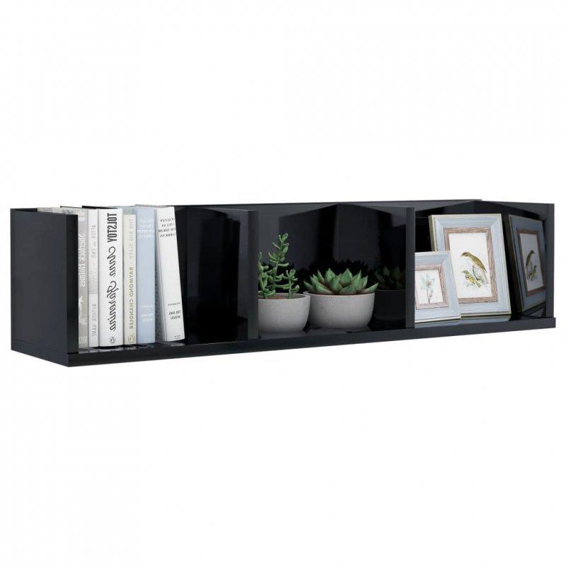 Półka ścienna na płyty CD, czarna, wysoki połysk, 75x18x18 cm