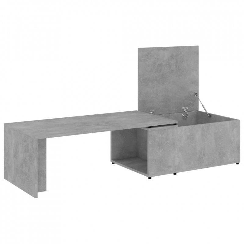 Stolik kawowy, szarość betonu, 150x50x35 cm, płyta wiórowa