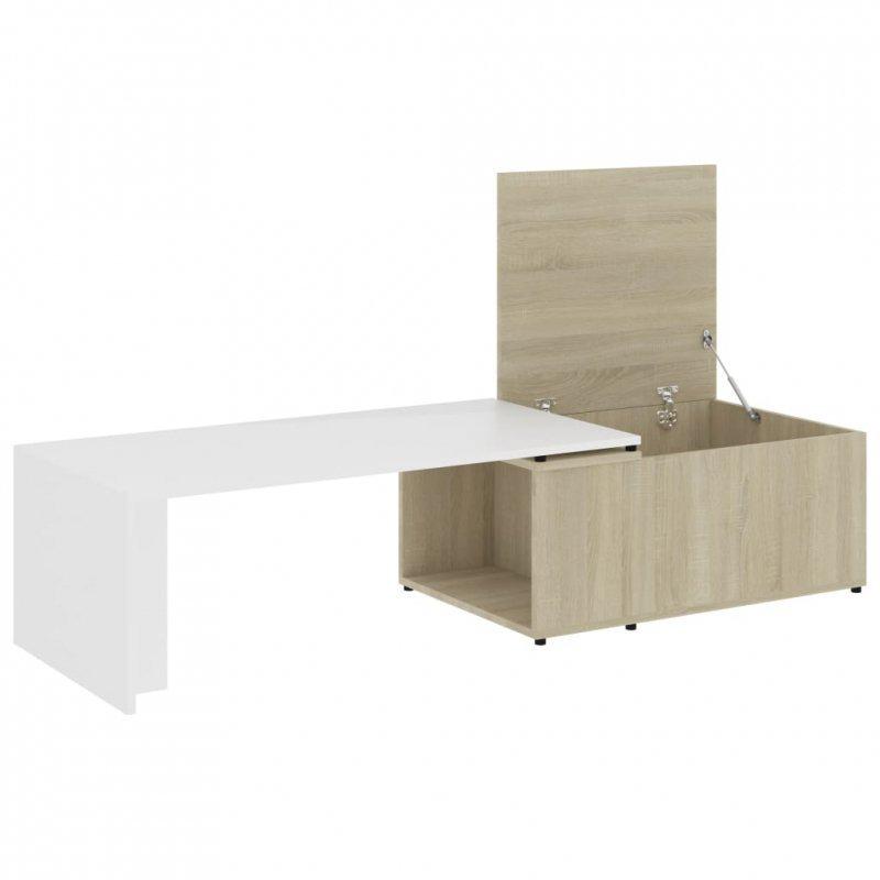 Stolik kawowy, biały i dąb sonoma, 150x50x35 cm, płyta wiórowa