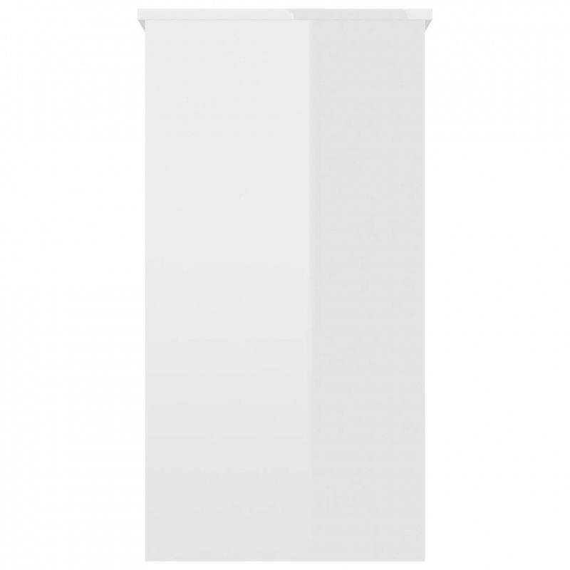 Biurko, białe na wysoki połysk, 80x40x75 cm, płyta wiórowa