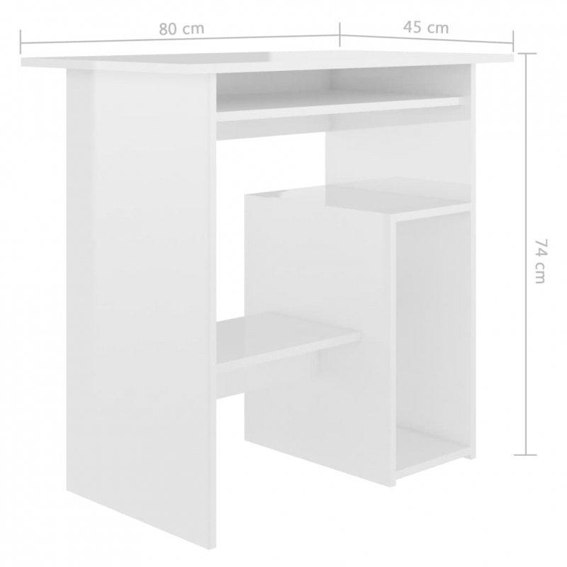 Biurko, wysoki połysk, białe, 80x45x74 cm, płyta wiórowa