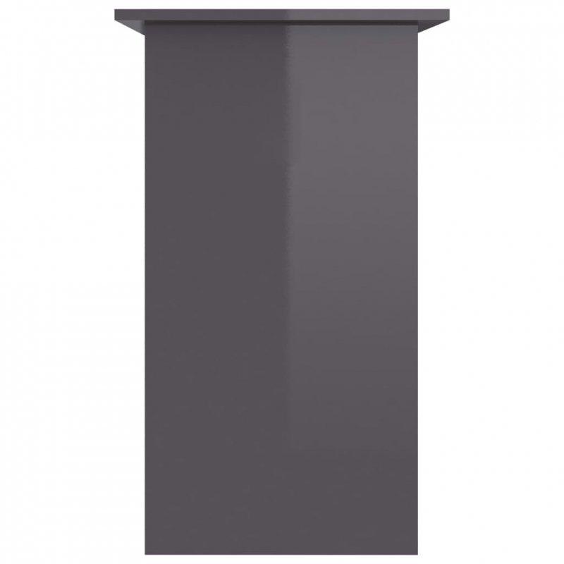 Biurko, wysoki połysk, szare, 80x45x74 cm, płyta wiórowa