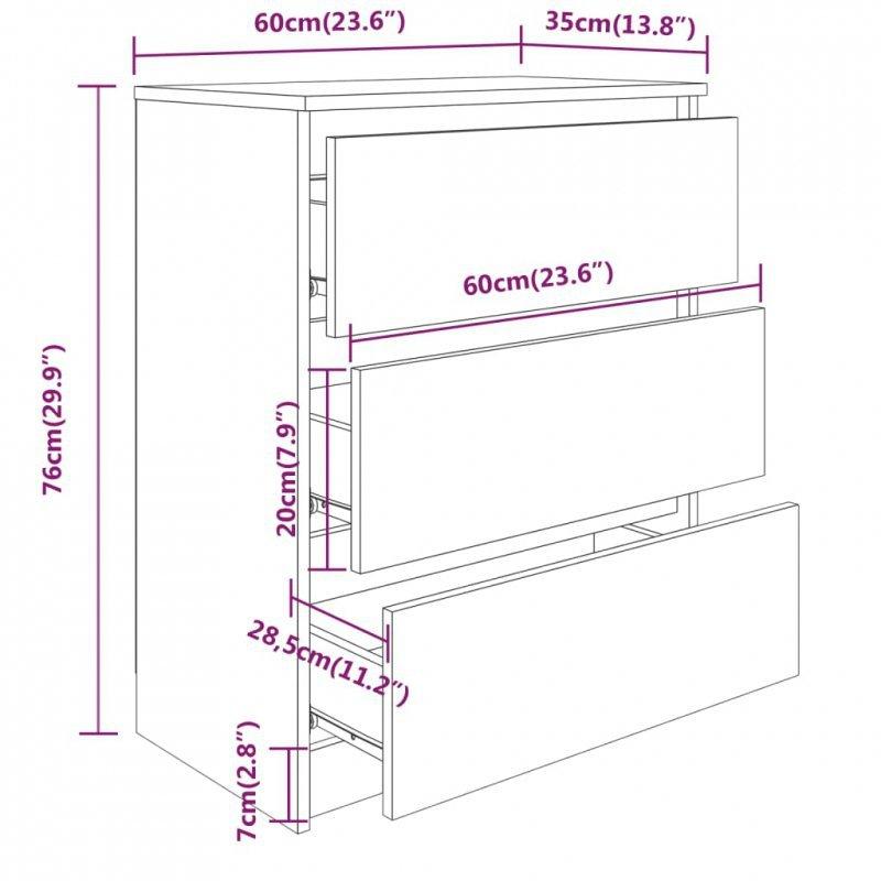 Komoda, szarość betonu, 60x35x76 cm, płyta wiórowa