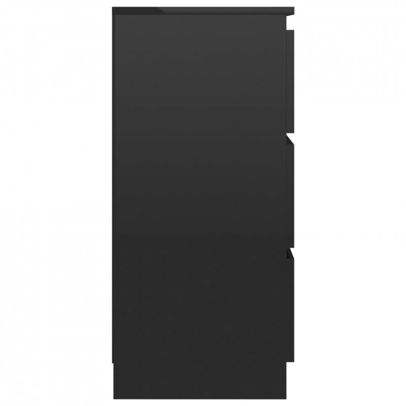Komoda, czarna na wysoki połysk, 60 x 35 x 76 cm, płyta wiórowa