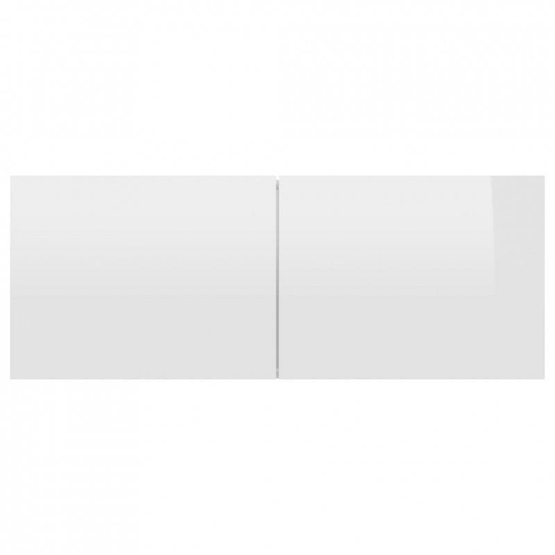 Szafka TV, wysoki połysk, biała, 80x30x30 cm, płyta wiórowa