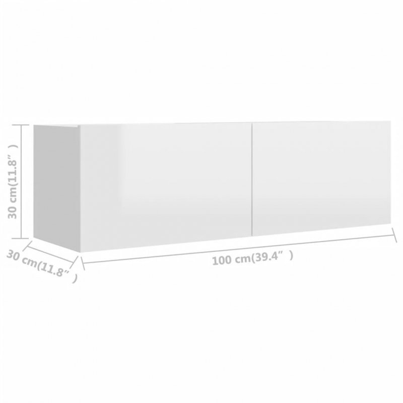 Szafka TV, biała, wysoki połysk, 100x30x30 cm, płyta wiórowa