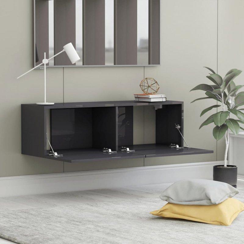 Szafka TV, szara, wysoki połysk, 100x30x30 cm, płyta wiórowa