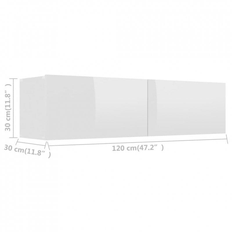 Szafka TV, wysoki połysk, biała, 120x30x30 cm, płyta wiórowa