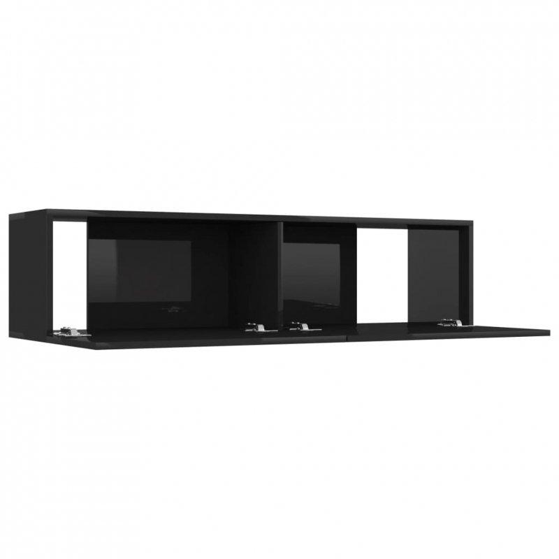 Szafka TV, wysoki połysk, czarna, 120x30x30 cm, płyta wiórowa