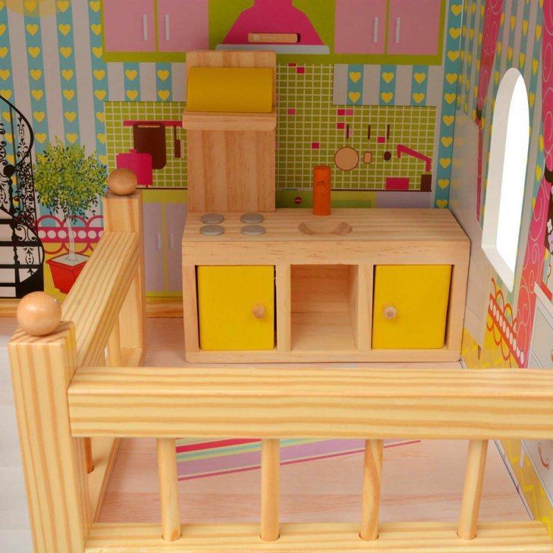 3-poziomowy domek dla lalek 60x30x90 cm, drewno