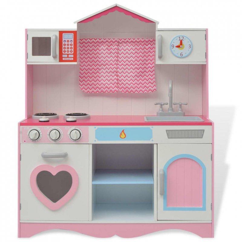 Kuchnia zabawkowa 82x30x100 cm, drewno, różowo-biała