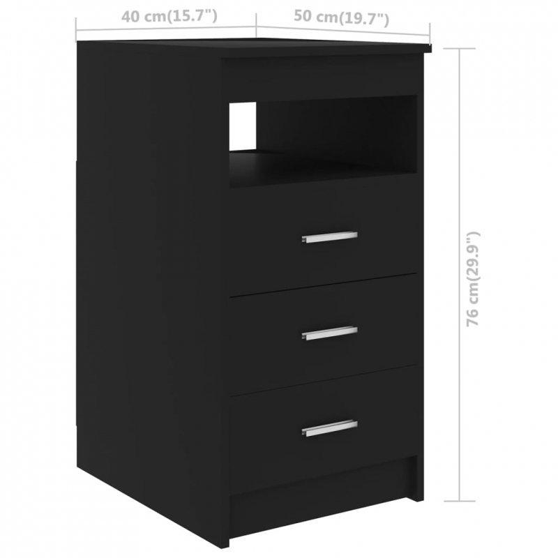 Komoda, czarna, 40x50x76 cm, płyta wiórowa