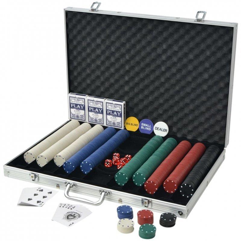 Zestaw do pokera 1000 żetonów, aluminium