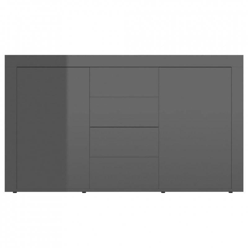 Komoda na wysoki połysk, szara, 120x36x69 cm, płyta wiórowa