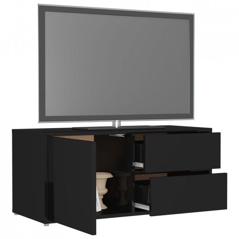 Szafka TV, czarna, wysoki połysk, 80x34x36 cm, płyta wiórowa