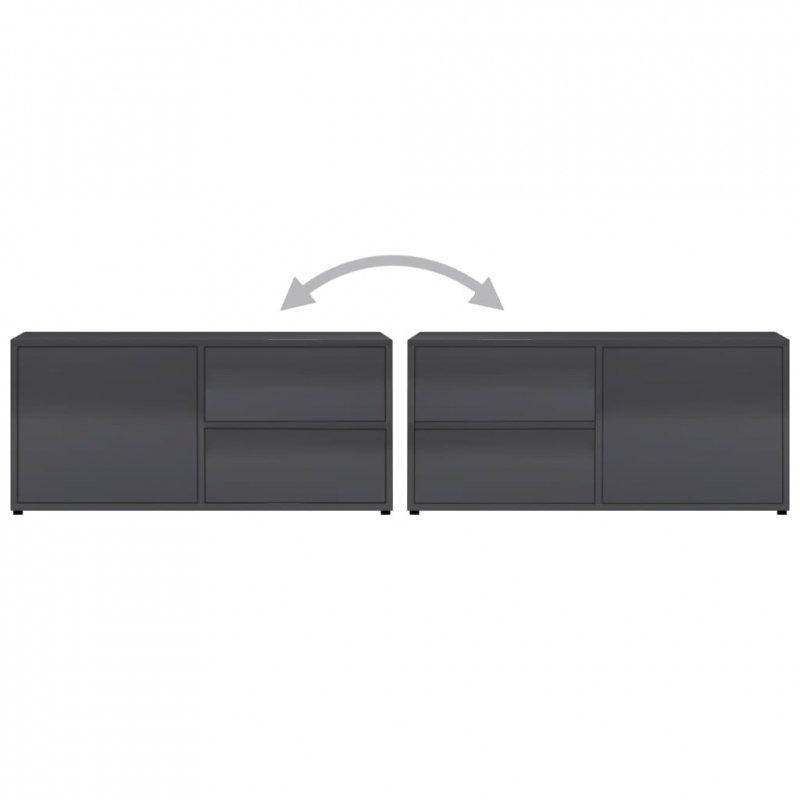 Szafka pod TV, szara, wysoki połysk, 80x34x36 cm, płyta wiórowa