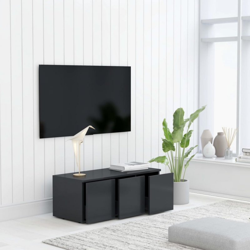 Szafka pod TV, szara, 80x34x30 cm, płyta wiórowa