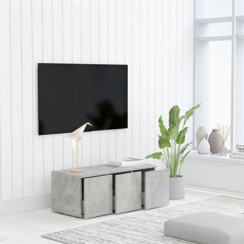 Szafka pod TV, szarość betonu, 80x34x30 cm, płyta wiórowa