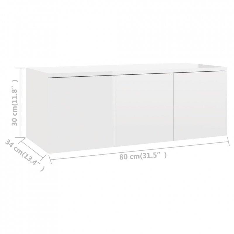 Szafka pod TV, biała, wysoki połysk, 80x34x30 cm, płyta wiórowa